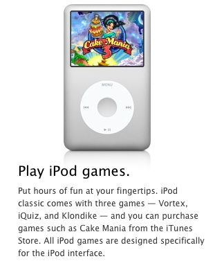 Ipod classic click wheel games